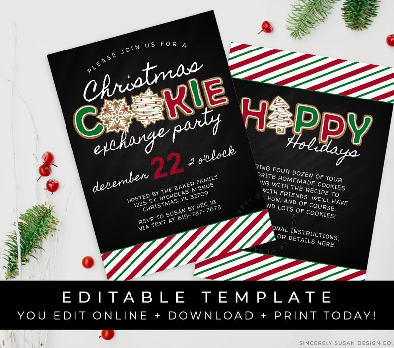 Christmas Cookie Exchange Invitation Holiday Party Gingerbread Cookies Chalkboard Invite Editable Template Download Printable Corjl 075A VIP