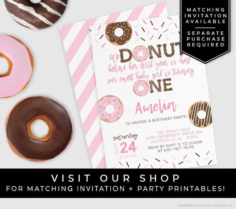 Pink Donut Birthday Milestone Poster Printable Party 1st Birthday Girl Stats Sign Keepsake Nursery Art Editable Template Download Corjl #004