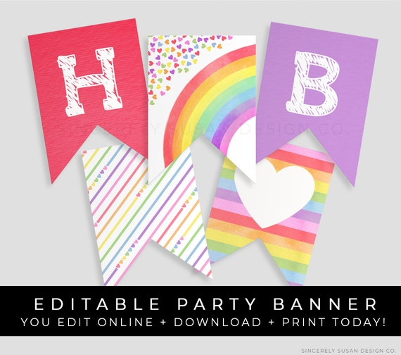 graphic about Printable Party Decorations known as Rainbow Birthday Banner Printable Bash Decorations Editable Rainbow Hearts Confetti Bunting Instantaneous Obtain Template, Corjl #016