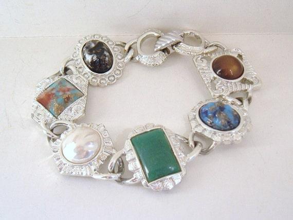 Sarah Cov Chunky Colorful Plastic silvertone Vinta