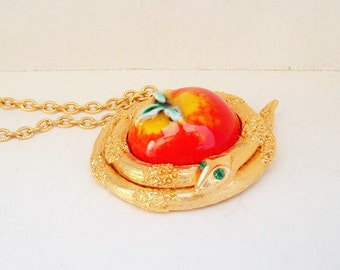 Vintage Locket, Fuller Brush Serpent Perfume locket, Garden of Eden,Long Necklace Locket Jewelry,snake and apple,perfume compact pendant