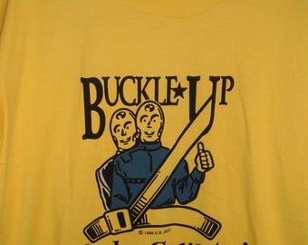 Mens Vintage Screen Stars Best 1988 Yellow Crash Dummies Buckle Up T Shirt Lake County Sz XL