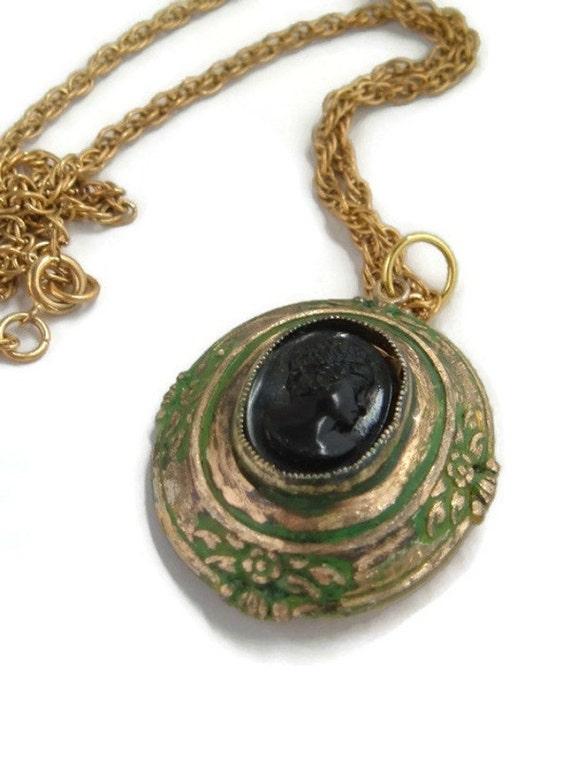Cameo Pendant,Cameo Locket jewelry,Vintage locket,Victorian cameo locket,green patina Vintage Upcycle,Coro Cameo locket Necklace