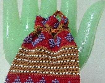 Beaded Reticule Vintage Star Pouch Glass Beaded Bag Crochet 6 Inches