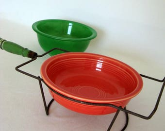 Wire Bowl Stand Green Handle Kitchen Tool Painted Wood Vintage Primitive Rustic