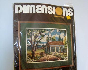 Needlepoint Kit NIP Dimensions Country Chapel Mildred Sands Kratz 1984 Unopened