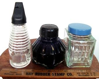 Vintage 3 Glass Ink Bottles, Mucilage Bottle, 3 Instant Collection Office Supplies