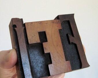 Letter F Wood Type 3 Print Blocks Lower Case and Capital F Letterpress