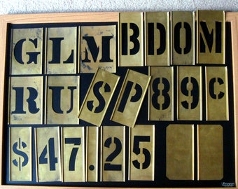 Brass Stencils 22 Vintage G L M R U B D O M P S 2 4 5 8 9 Metal Dollar Sign Decimal Reeses