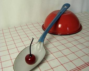 Blue n White Spoon Enamelware Long Handle Enameled Ware Vintage Graniteware