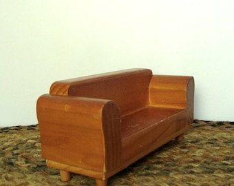 Wood Sofa Doll Furniture Couch 7 Inch Long Photo Prop or Surface to Embellish