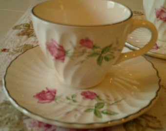 Shabby Chic  Rose  Cup and Saucer