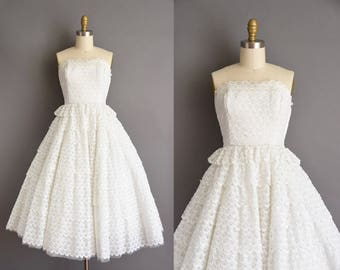 e51ec7871ca10 50s dress - Vintage 1950s dress - white strapless wedding dress - Size  Small white cotton strapless party full skirt dress