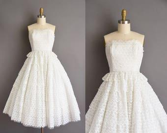 bdf7910877d 50s dress - Vintage 1950s dress - white strapless wedding dress - Size  Small white cotton strapless party full skirt dress