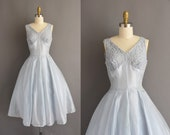 vintage 1950s icy blue shimmery silk chiffon full skirt bridal Winter cocktail party dress Small vintage 50s icy blue lace cupcake dress