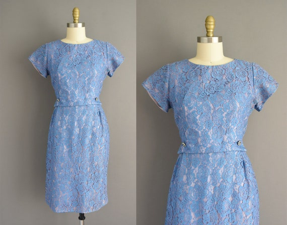 50s dress | Blue lace short sleeve cocktail wiggle