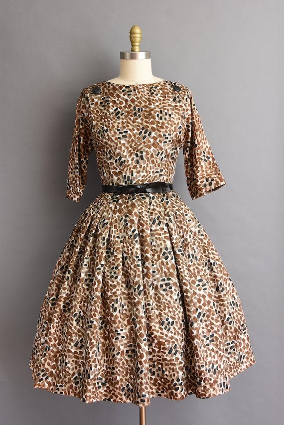 vintage 1950s dress R&K silk brown and black print full skirt dress Small 50s vintage full skirt silk print dress