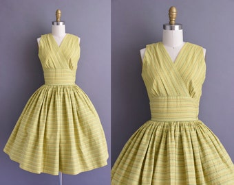vintage 1950s chartreuse cotton stripe full skirt dress XS vintage 50s cotton sweeping full skirt sun dress with stripe print