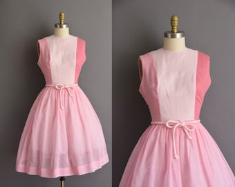 vintage 1950s two tone pink cotton full skirt dress Medium 50s vintage pink cotton day dress