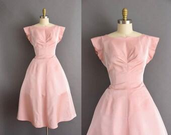 vintage 50s pink sharkskin full skirt cocktail party VLV dress Medium Large 1950s pink bridesmaid vintage dress