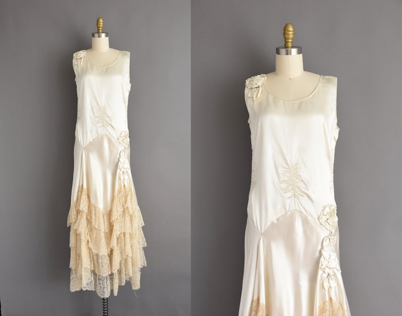 08a378a561e0db Jaren 1920 vintage antieke bruiloft jurk ivoor zijde drop