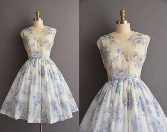 vintage 1950s semi sheer lavender and blue floral print dress Medium Large 50s full skirt vintage dress