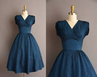 50s textured midnight blue Holiday vintage party dress. 1950s vintage dress