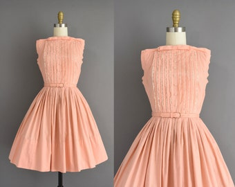 vintage 1950s dress | Peach Pink Cotton Sweeping Full Skirt Summer Dress | XS | 50s vintage dress