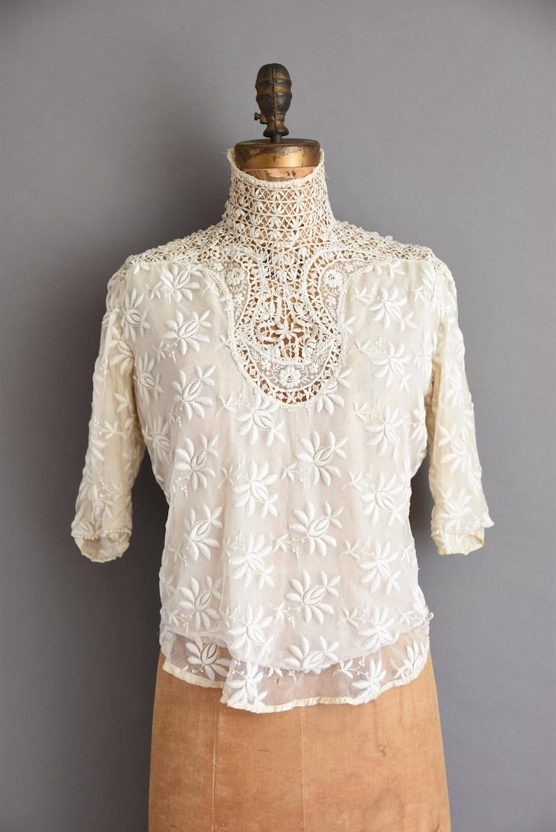 antique lace blouse Very Rare 1910s antique heavy lace Edwardian blouse