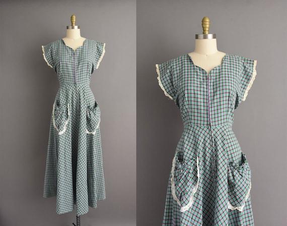vintage 1950s | Blue & Green plaid print summer fu