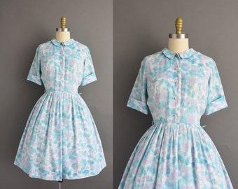 vintage 1950s | Mode O Day Pastel Short Sleeve Full Skirt Cotton Shirt Dress | Medium | 50s dress