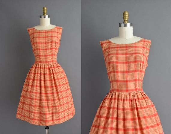 vintage 1950s | Beautiful orange plaid print cotto