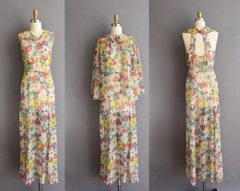 vintage 1930s fluttery floral chiffon low back bias cut full length dress Gorgeous Small 30s antique Spring dress