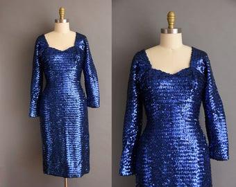Outstanding 1950s royal blue full sequin designer cocktail dress. vintage 1950s dress.
