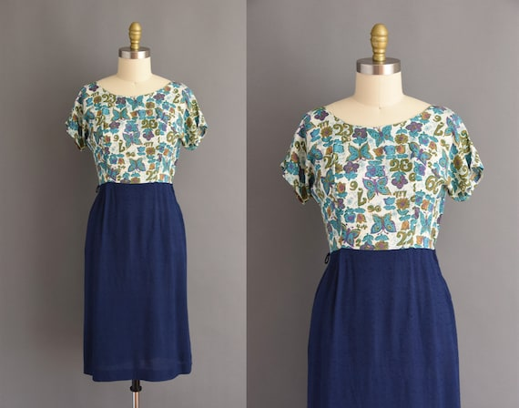 vintage 1950s cotton linen Butterfly print blue wi