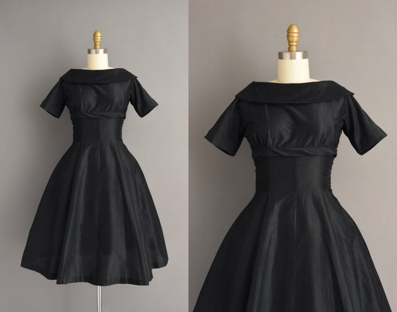 50s dress | Teena Paige jet black cotton full skir