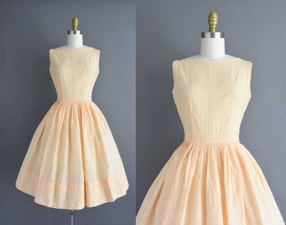 vintage 1950s | Jerry Gilden Peach Cotton Full Sk… - image 1
