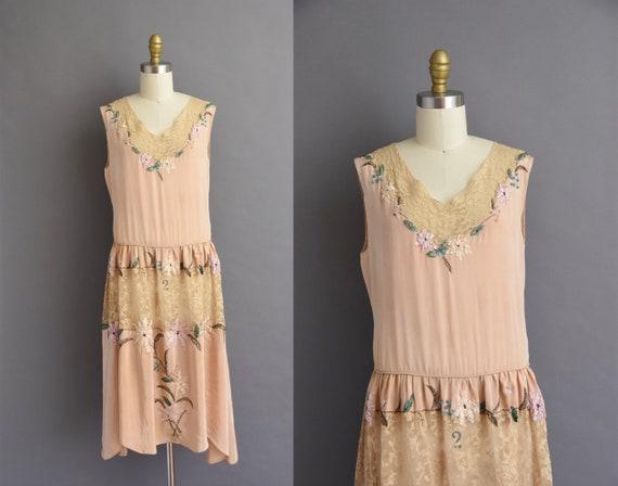 vintage 1920s dress 20s dress - peachy pink silk f