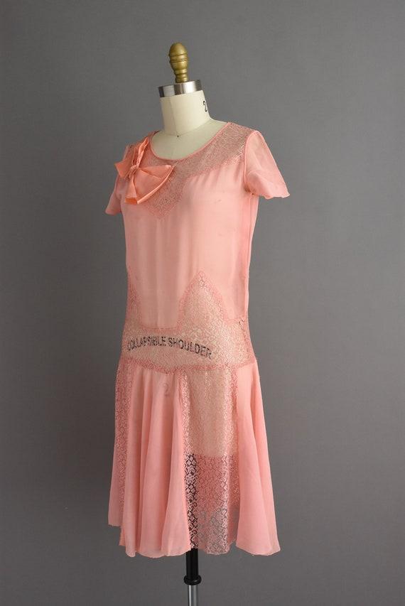 vintage 1920s | Beautiful pink silk chiffon antiq… - image 7