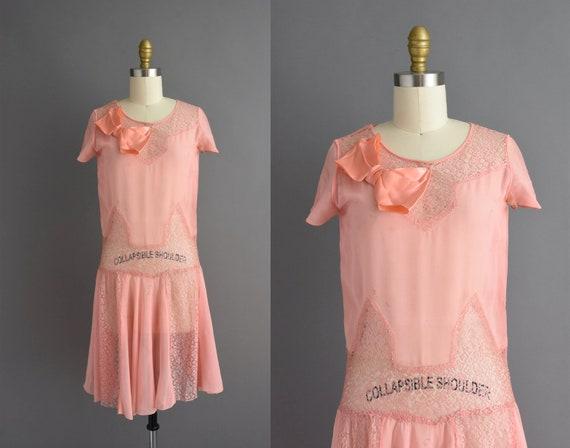 vintage 1920s | Beautiful pink silk chiffon antiq… - image 1