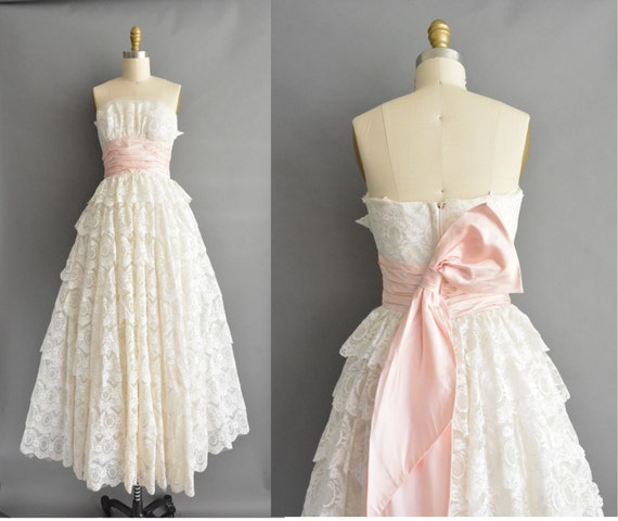 Vintage 50s lace wedding dress 1950s tiered bridal gown with   Etsy