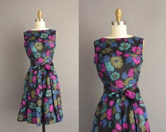 vintage 1960s | Beautiful Vibrant Floral Print Pleated Full Skirt Cotton Dress | XS | 60s dress