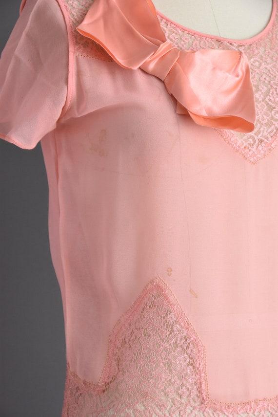 vintage 1920s | Beautiful pink silk chiffon antiq… - image 5