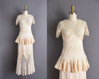 1920s vintage ivory silk french lace bridal wedding dress XS 20s antique full length dress