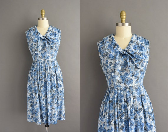vintage 1950s | Mode O Day Blue Floral Print Full