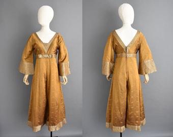 vintage 1960s jumpsuit - Size Medium - Sari Saree silk jumpsuit - 60s jumpsuit