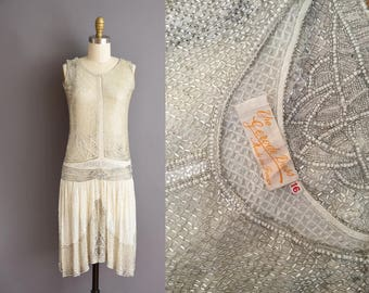 French 1920s full beaded 1920s antique dress from Paris - 20s beaded flapper wedding dress.