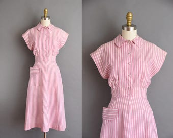 50s rose pink pinstripe cotton early 50s dress. 1950s vintage dress