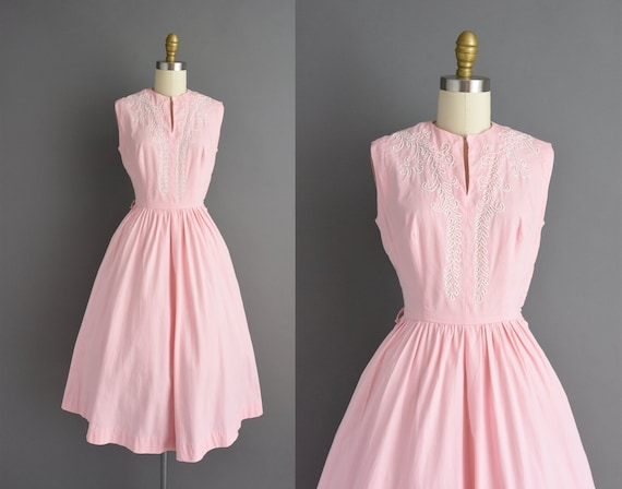 50s dress | Pink cotton sleeveless full skirt shir