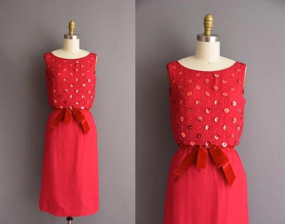 1950s dress - vintage 50s dress - red beaded sequi